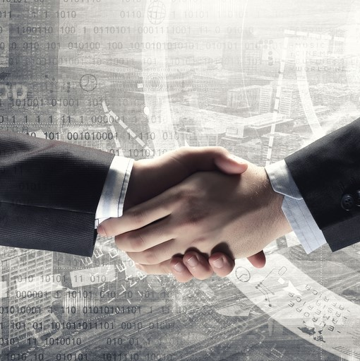 Close up of business handshake on digital background1x1